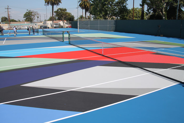 New tennis court surface