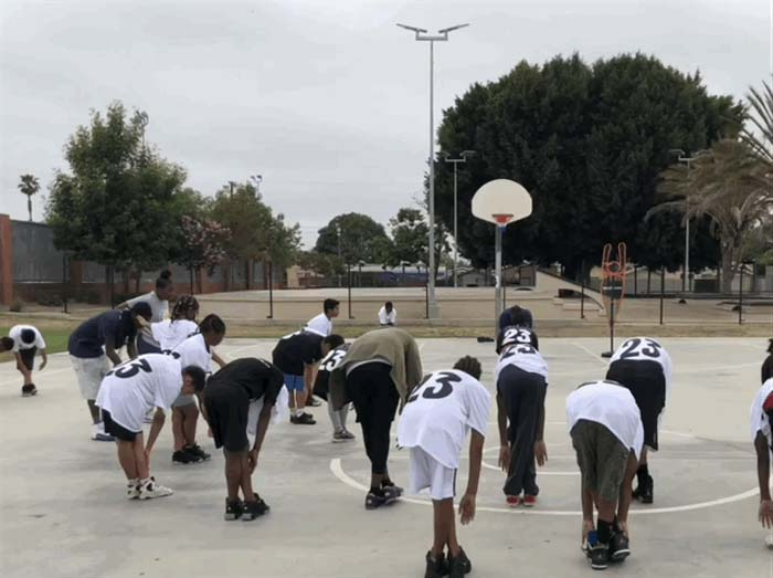 Stretching at Go Hoop Day