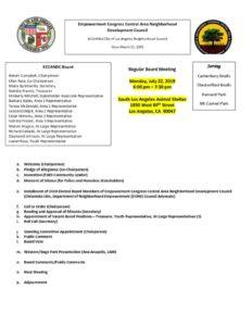 thumbnail of ECCANDC Board Meeting Agenda 072219