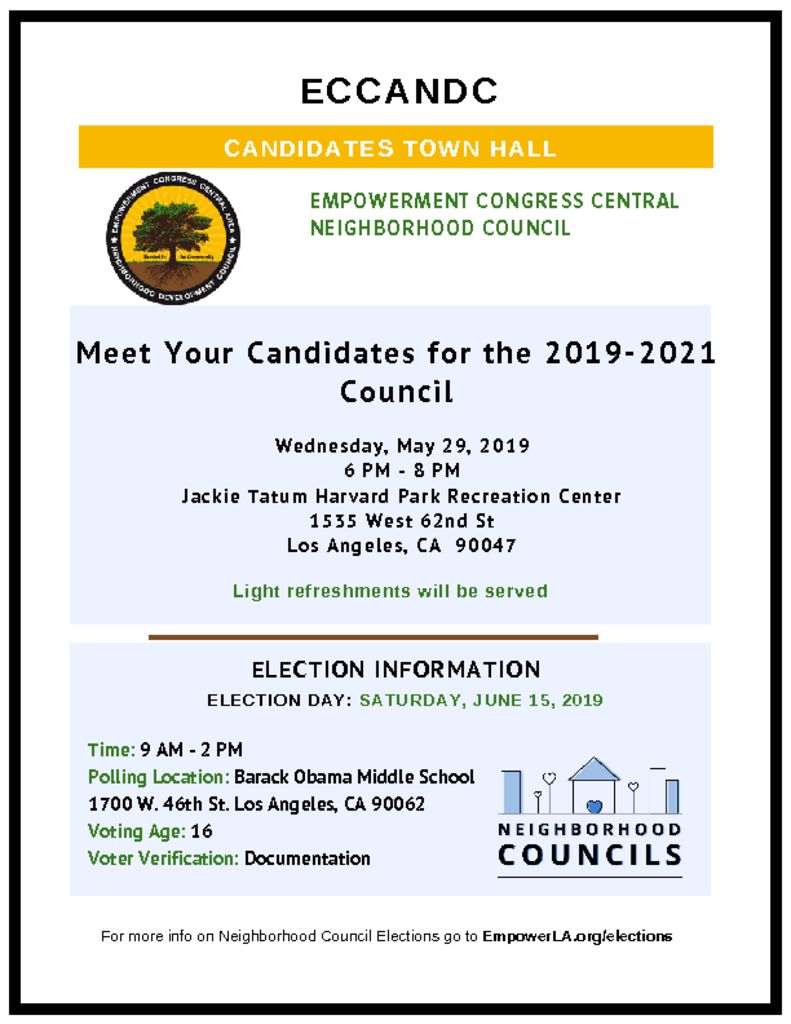 thumbnail of ECCANDC Candidates Town Hall Flyer