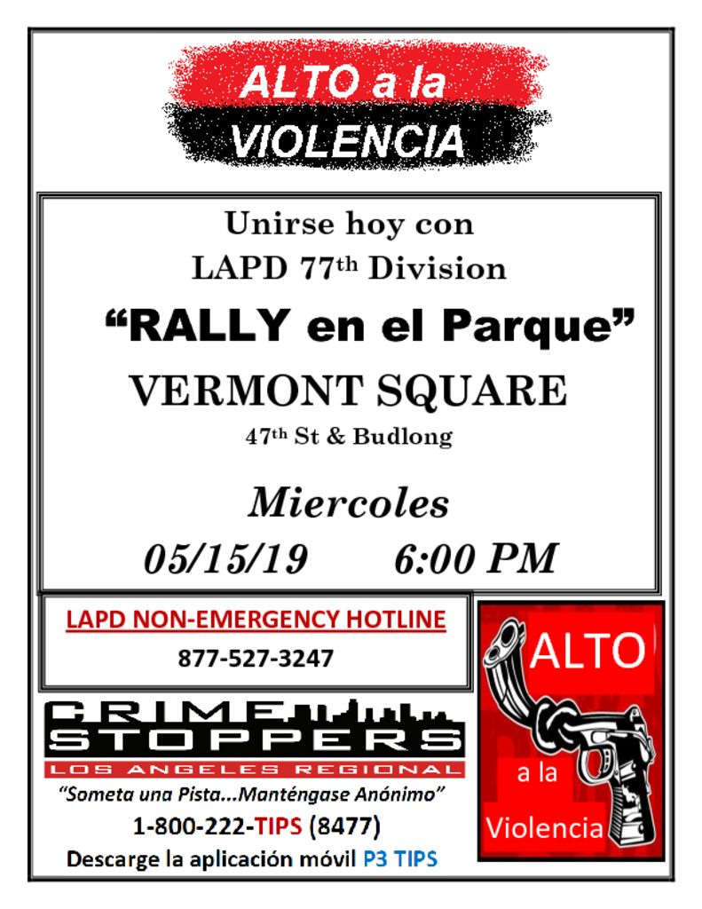 thumbnail of STOP THE VIOLENCE FLYER Vermont Square Spanish