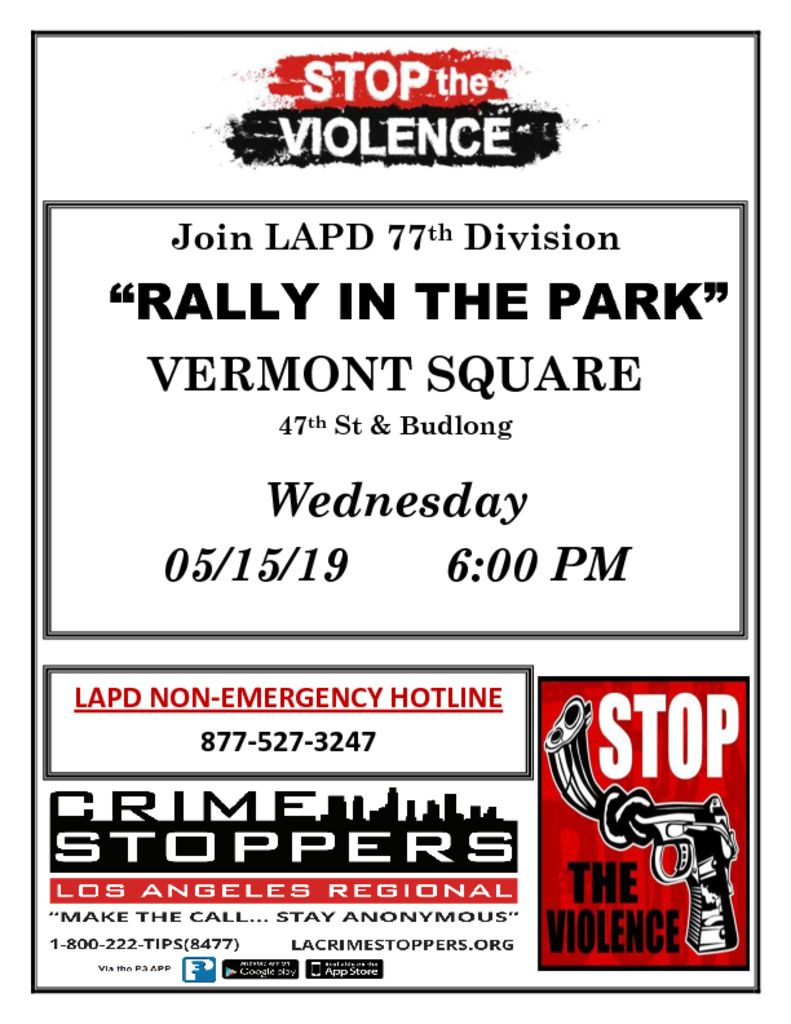 thumbnail of STOP THE VIOLENCE Vermont Square 2019