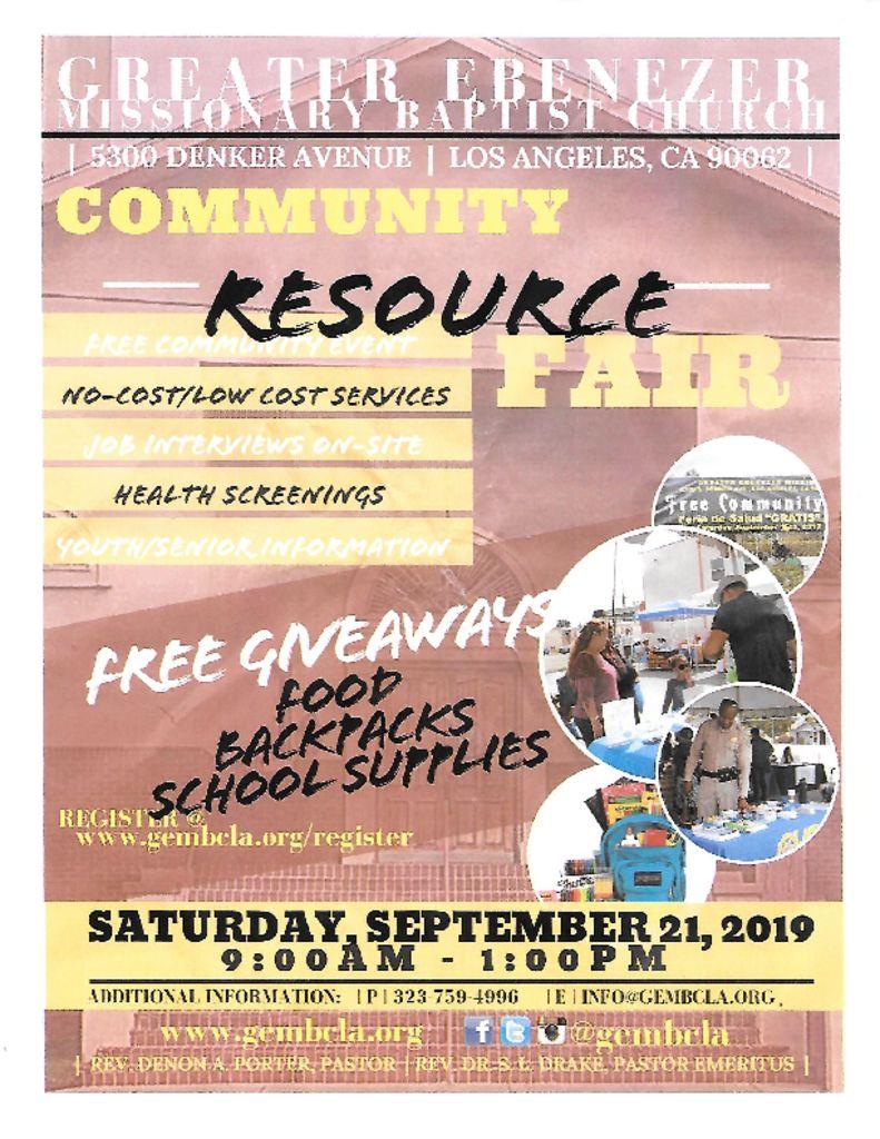 thumbnail of Greater Ebenezer MBC Resource Fair 2019