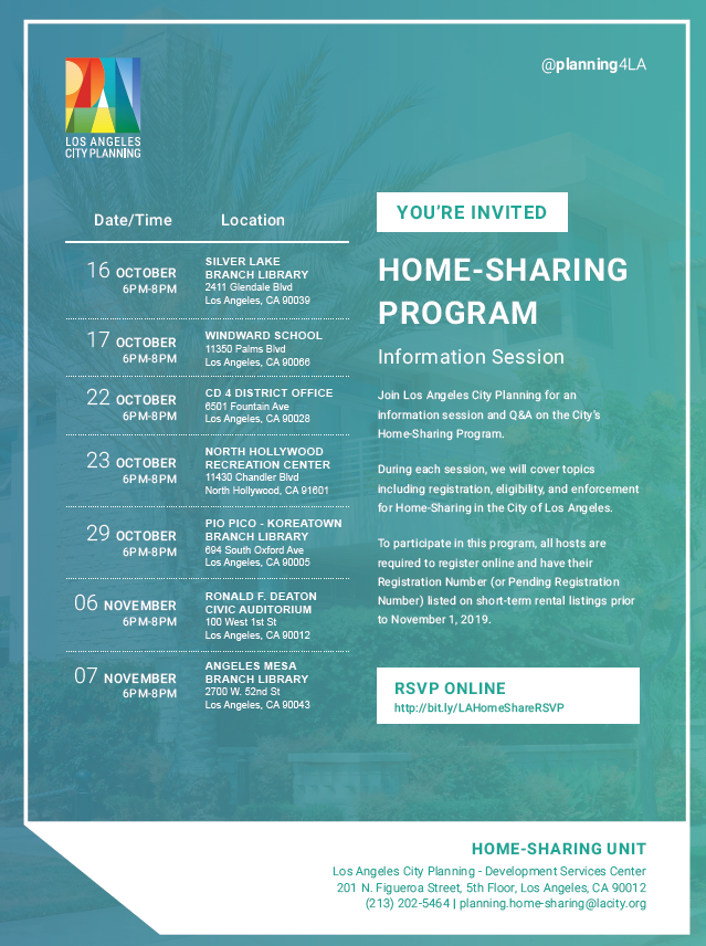 Home Sharing Info Sessions