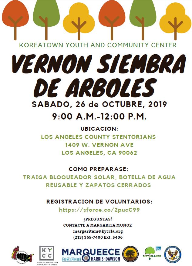 Vernon tree planting in Spanish